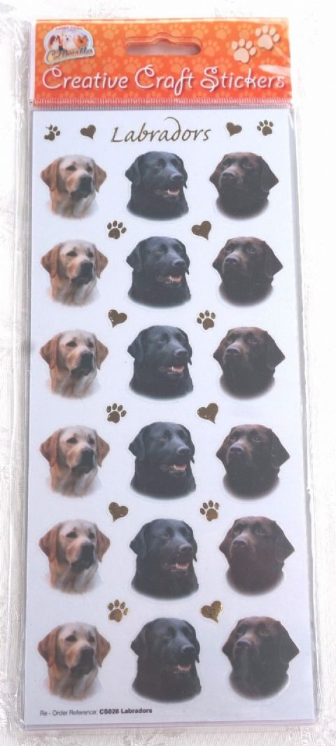 LABRADORS - STICKERS FOR CARD CRAFT SCRAPBOOKING ETC